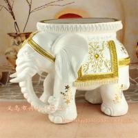Best Resin Elephant Stool White Color Home Decor Resin Elephant Craft Figurine (XH009-White) wholesale