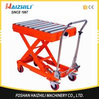 Quality 350kg 1300mm Hydraulic Manual Roller Top Scissor Lift Table Made In China for sale