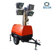 Quality Trailer Type IP65 7m Mobile Lighting Tower For Outdoor Oversized Fuel Tank Design for sale