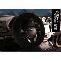China Dyed Black Sheepskin Steering Wheel Cover Hand Sewing for Car Decoration on sale