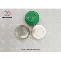 China Custom Logo Flip Off Cap / Glass Vial Caps Dark Green Color With Embossed Logo on sale