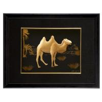 Quality Home decoration 3D 24k gold foil art crafts with lack wooden frame for sale