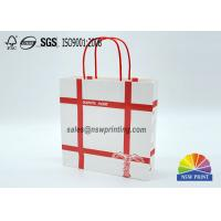 Quality Personalized Recyclable White Custom Paper Shopping Bags With Red Rope Handle​ for sale