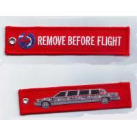 Buy cheap Remove Before Flight Car Fabric Embroidery Keychain for Aviation Gifts Luggage Tag Key Fob Key from wholesalers