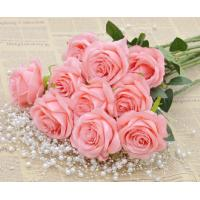 China GNW FLS12 Fake Pink Rose Flower Valentine Day Gift Fake Satin Ribbon Handmade Flowers on sale