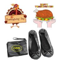 Quality 2018 Hot Selling PU Material Roll up and Foldable Ballet Shoe with Free Bag, Thanksgiving Gift Shoes for sale
