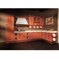 Best L Shaped Apartment Solid Wood Kitchen Cabinets Antique Red With Dtc Hinges wholesale