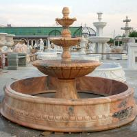 Large Outdoor Water Feature Custom Red Marble Stone Garden Water Fountain With