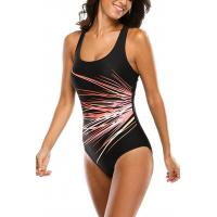 China U Neck Sports Womens Swimming Suits Wide Shoulder Straps Unique Lines Printing on sale