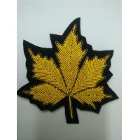 Best Leaf Applique Hand Embroidered Metal Thread Cannabis Bullion Patches wholesale