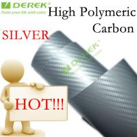 Quality High Polymeric Carbon Fiber Vinyl Car Wrapping Film - Silver for sale