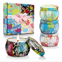 Quality Custom Retro Patterns Travel Metal Jar Scented Candle Tin Candle Gift Sets for sale
