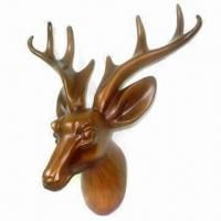 Best Polyresin Art Deer Head for Wall Decoration, with Polished Surface and Handicraft Carving Tech wholesale
