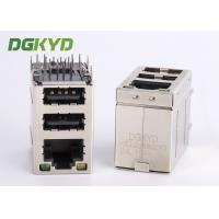 Quality Cat3 RJ45 Connector stack over dual USB 2.0 A type with Y/G Led for sale