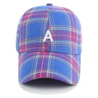 Quality Six Panel Promotional Products Caps Plaid Baseball Hat 100% Cotton Material for sale