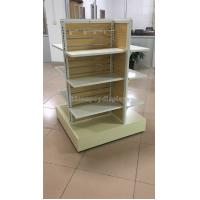 Quality Wooden Clothing Store Fixtures Metal 4-Way Garment Shop Display Racks Floor Standing for sale