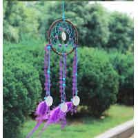 China Circular Purple Handmade Dream Catcher Net With Feathers Wall Hanging Decoration Decor Craft Gift Wind Chimes for Home on sale
