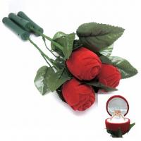 Quality Ceremony Promotion Jewelry Velvet Box Red Rose Shaped With Fast Flashing LED Lights for sale