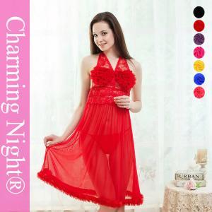 China Fur Edge Ruffle Neck Transparent sexy night dresses for girls , sexy nightwear dress on sale