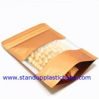 Quality Dried Food Packaging Kraft Zipper Pouch Bags With Sticker , Clear Window for sale