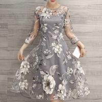 Quality fashion & charming round neck 3/4 sleeve floral print see-trough women's dress for sale