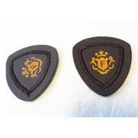 Apparel Iron On Leather Patches , Fashion Embroidered Leather Patches