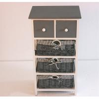 China Wood storage cabinet with drawers & woven basket on sale
