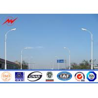 Quality 12m Q235 Hot Dip Galvanized Street Lamp Pole With Cross Arm 1.8 Safety Factor for sale
