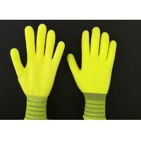 Quality 13G Yellow Latex Coated Gloves High Extension Elastic Knitting Customized Size for sale