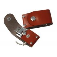 Quality Business Gift Brown USB Thumb Drives Embossment Write Delete Protection Switch for sale