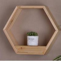 Quality Floating Shelf Hexagon Honeycomb Wall Mounted Shelves Decorative Hanging Wood Shelf Display for Plant Holder for sale