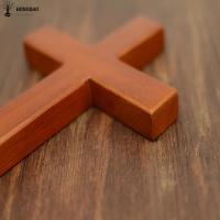 Quality Holding Hand Olive Pine Wood Solid Unfinished Wooden Crosses , Wooden Pocket Crosses for sale