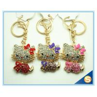 China Custom Fashion Rhinestone Animal Metal Cute Cat Key Ring Three Color For Sale on sale