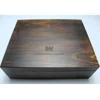 Quality Customized Handmade Wooden Gift Boxes , Darker Wood Color Personalized Wooden Box With Lock for sale