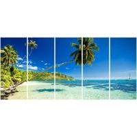 5 panel panoramic canvas prints with palm seascape