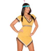 China Yellow Native Lily Costume Sexy Girl Halloween Costume Dress And Hairband on sale