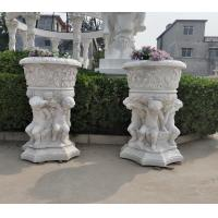 Quality Stone carved Marble planter carved flowerpot sculpture,garden stone garden statues supplier for sale