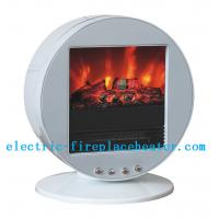 China Contemporary White Chimney Free Electric Fireplace Stove With Real Wood Fire Effect on sale