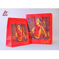 Best High End Red Color Cute Christmas Paper Bags With Handles Matte Lamination wholesale