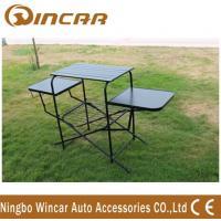 China PVC polyester Outdoor Camping Tables , Black / Sliver Portable Grill Barbecue Table on sale