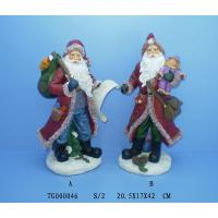 China Red Christmas Polyresin Figurine Santa Claus Statues 20.5 X 17 X 42 Cm on sale