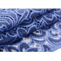 Eco Friendly Wedding Lace Fabric Swiss Style , Royal Blue Lace Fabric 145 Cm
