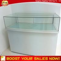 China Tabletop Lockable Led Light Curved Glass Wooden Jewelry Display Case Counter on sale