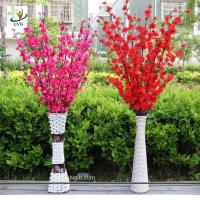 Best UVG CHR099 Wedding decoration materials artificial peach blossom branch with fabric flower wholesale