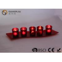 China Set Of 5 Red Glass Candle Holder With Glass Plate And LED Tealight on sale