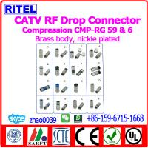 China catv_matv_smatv high quality drop connectors & adaptors F type compression connectors, comptabile with TVC/COMCAST/PPC on sale