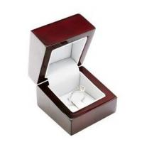 China Red Color Light Wood Jewelry Box , Wooden Engagement Ring Box For Single Ring on sale