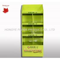 Quality Green Corrugated Cardboard Display Stands , Brochure Display Rack 4 Layers for sale