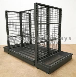 Best Supermarket / Retail Gondola Shelving Black Heavy Duty Double Sided Display Stand wholesale
