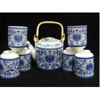 Blue Design Ceramic Chinese Teapot And Cup Set Coffee Set For For Hotel And Home